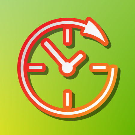 Service and support for customers around the clock and 24 hours. Contrast icon with reddish stroke on green backgound. Иллюстрация