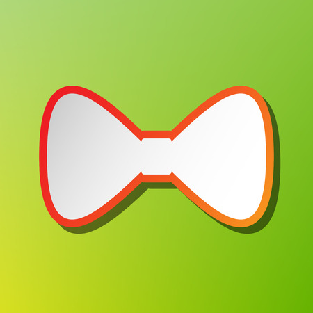 Bow Tie icon. Contrast icon with reddish stroke on green backgound.