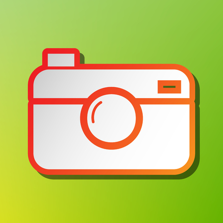 Digital photo camera sign. Contrast icon with reddish stroke on green backgound.