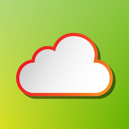 Cloud sign illustration. Contrast icon with reddish stroke on green backgound.