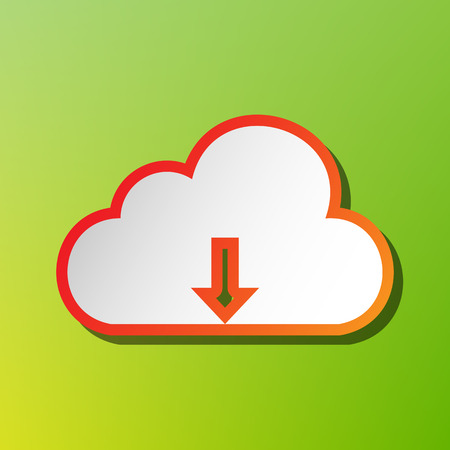 Cloud technology sign. Contrast icon with reddish stroke on green backgound.