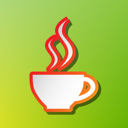 Cup of coffee sign. Contrast icon with reddish stroke on green backgound.