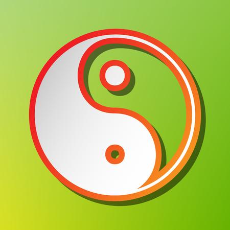 yin y yan: símbolo ying yang de la armonía y el equilibrio. icono contraste con el movimiento rojiza en el backgound verde.