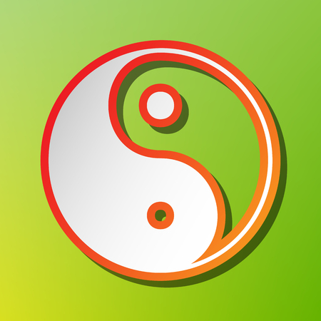 Ying yang symbol of harmony and balance. Contrast icon with reddish stroke on green backgound.