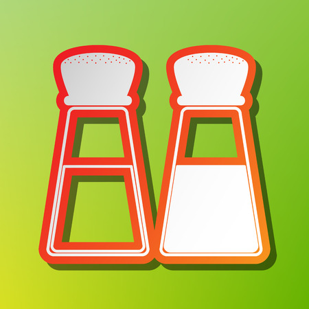 salty: Salt and pepper sign. Contrast icon with reddish stroke on green backgound.