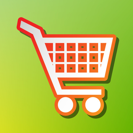 Shopping cart sign. Contrast icon with reddish stroke on green backgound. Illustration