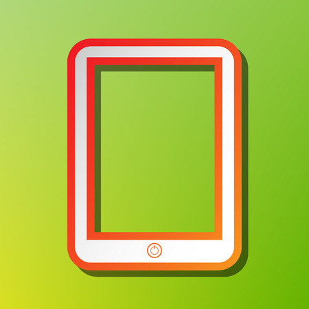 touch sensitive: Computer tablet sign. Contrast icon with reddish stroke on green backgound.