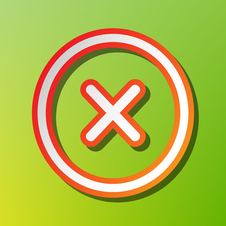 voted: Cross sign illustration. Contrast icon with reddish stroke on green backgound.