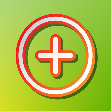Positive symbol plus sign. Contrast icon with reddish stroke on green backgound. Illustration