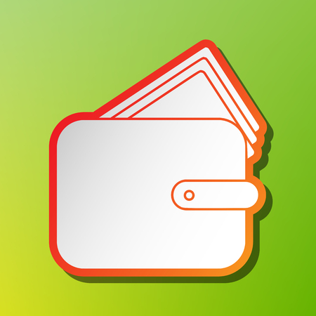 Wallet sign illustration. Contrast icon with reddish stroke on green backgound.