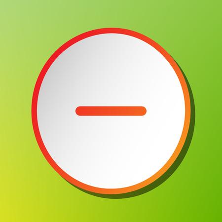 minus sign: Negative symbol illustration. Minus sign. Contrast icon with reddish stroke on green backgound.