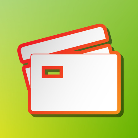 tarjeta visa: Credit Card sign. Contrast icon with reddish stroke on green backgound.