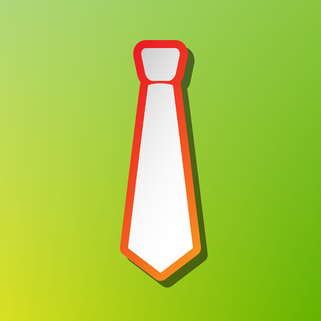 Tie sign illustration. Contrast icon with reddish stroke on green backgound.