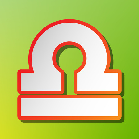 ecliptic: Libra sign illustration. Contrast icon with reddish stroke on green backgound.