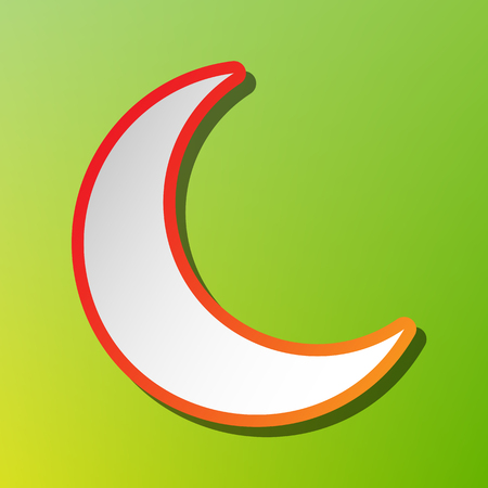 Moon sign illustration. Contrast icon with reddish stroke on green backgound.