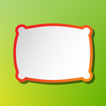 spongy: Pillow sign illustration. Contrast icon with reddish stroke on green backgound.