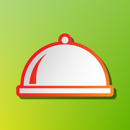 Server sign illustration. Contrast icon with reddish stroke on green backgound. Illustration