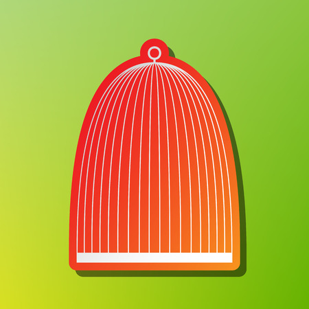 white perch: Bird cage sign. Contrast icon with reddish stroke on green backgound. Illustration