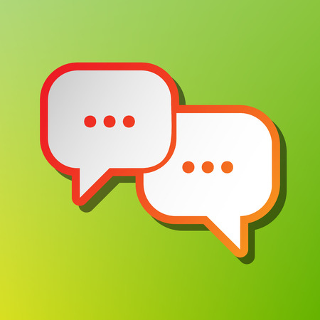 Speech bubbles sign. Contrast icon with reddish stroke on green backgound.