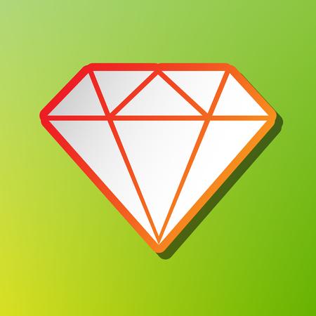 spoil: Diamond sign illustration. Contrast icon with reddish stroke on green backgound. Illustration