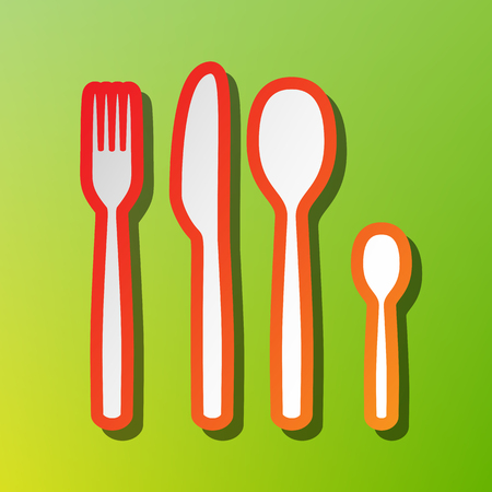 Fork spoon and knife sign. Contrast icon with reddish stroke on green backgound. Illustration