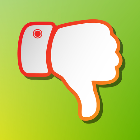 disapprove: Hand sign illustration. Contrast icon with reddish stroke on green backgound.
