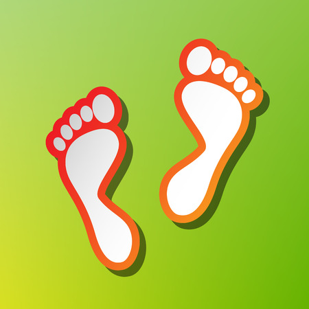 Foot prints sign. Contrast icon with reddish stroke on green backgound.