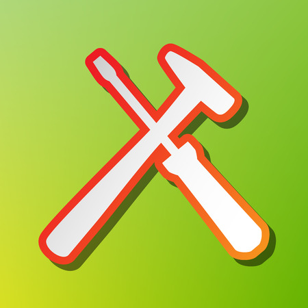 Tools sign illustration. Contrast icon with reddish stroke on green backgound.