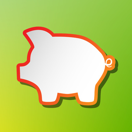 signo de pesos: Pig money bank sign. Contrast icon with reddish stroke on green backgound.