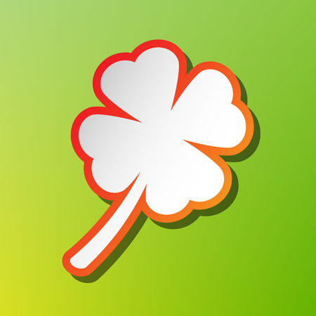 irish culture: Leaf clover sign. Contrast icon with reddish stroke on green backgound. Illustration