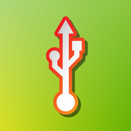storage compartment: USB sign illustration. Contrast icon with reddish stroke on green backgound.