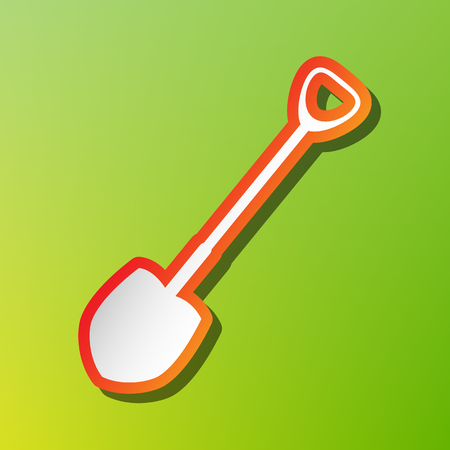 Shovel to work in the garden. Contrast icon with reddish stroke on green backgound.