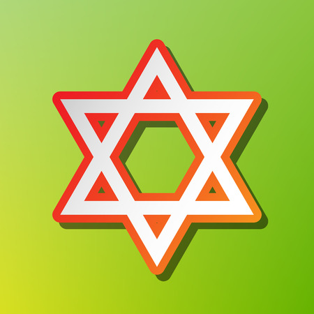 Shield Magen David Star. Symbol of Israel. Contrast icon with reddish stroke on green backgound. Illustration