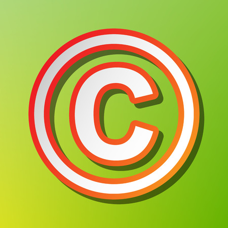 Copyright sign illustration. Contrast icon with reddish stroke on green backgound.