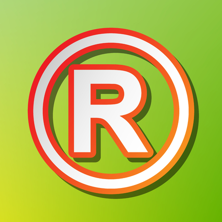 conventions: Registered Trademark sign. Contrast icon with reddish stroke on green backgound. Illustration