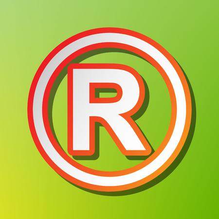 duplication: Registered Trademark sign. Contrast icon with reddish stroke on green backgound. Illustration