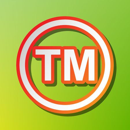 Trade mark sign. Contrast icon with reddish stroke on green backgound. Illustration