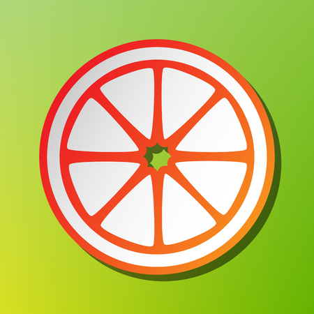 Fruits lemon sign. Contrast icon with reddish stroke on green backgound. Illustration