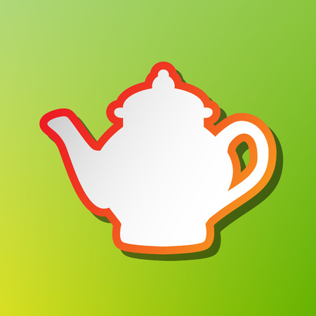 Tea maker sign. Contrast icon with reddish stroke on green backgound.