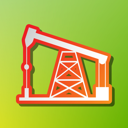 Oil drilling rig sign. Contrast icon with reddish stroke on green backgound.