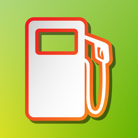 Gas pump sign. Contrast icon with reddish stroke on green backgound.