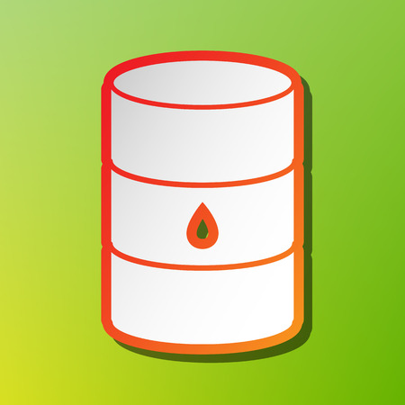 Oil barrel sign. Contrast icon with reddish stroke on green backgound.