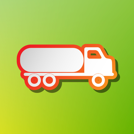 Car transports sign. Contrast icon with reddish stroke on green backgound.