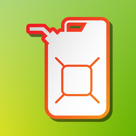 filling station: Jerrycan oil sign. Jerry can oil sign. Contrast icon with reddish stroke on green backgound.