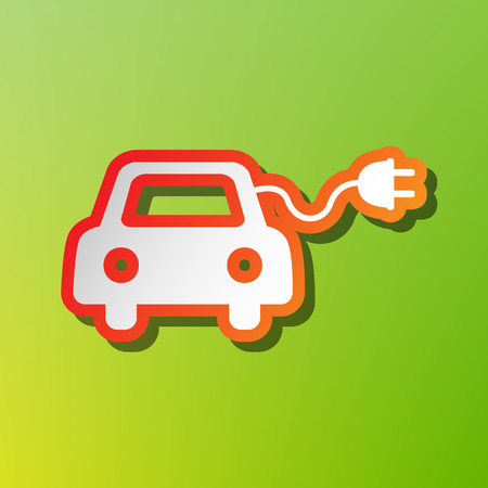 automobile industry: Eco electric car sign. Contrast icon with reddish stroke on green backgound. Illustration
