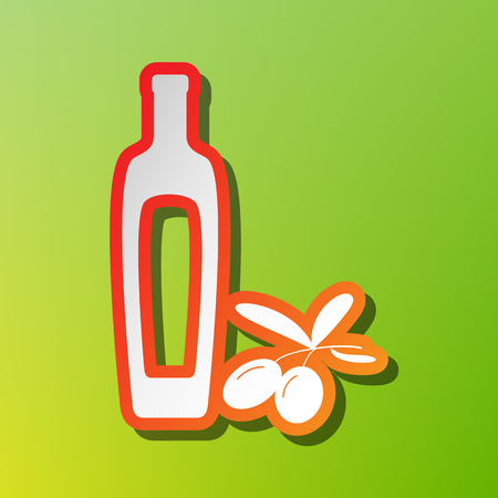 Black olives branch with olive oil bottle sign. Contrast icon with reddish stroke on green backgound. Illustration