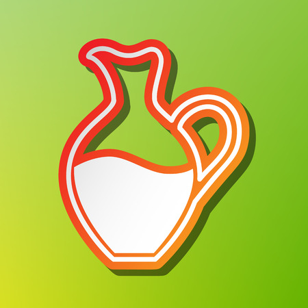 simplified: Amphora sign. Contrast icon with reddish stroke on green backgound. Illustration