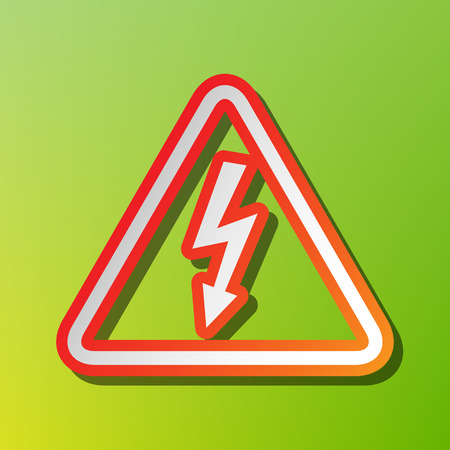High voltage danger sign. Contrast icon with reddish stroke on green backgound.