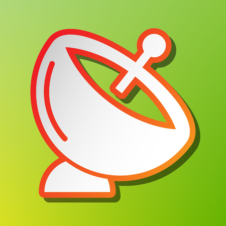 Satellite dish sign. Contrast icon with reddish stroke on green backgound.