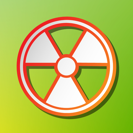 radiological: Radiation Round sign. Contrast icon with reddish stroke on green backgound. Illustration